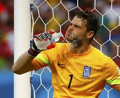 Greece's goalkeeper Orestis Karnezis splashes water on himself during their 2014 World Cup round of 16 game against Costa Rica at the Pernambuco arena in Recife June Costa Rica, Corfu Island, Goalkeeper, World Cup, Counting, June, Water, People, Greece
