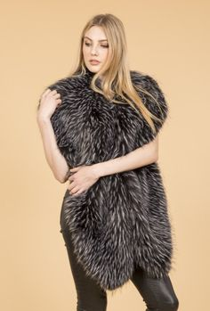 Black Faux Fur Wrap | Jayley Oversized Faux Fur Collar