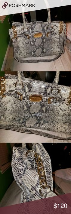Michael Kors Snake Skin Handbag Grey/Black snake skin with gold hardware Michael Kors Bags