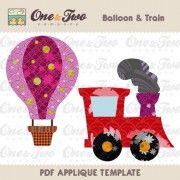 Balloon & Train Applique Template