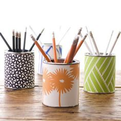 pencil holder - nice way to brighten the desk