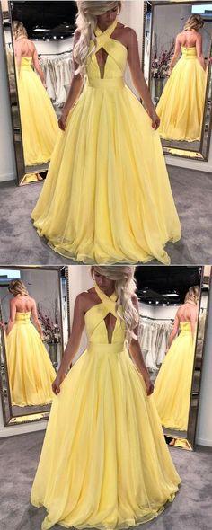 yellow prom dress,halter prom dress,elegant prom dress,chiffon evening dress,long formal dress,prom dresses 2018