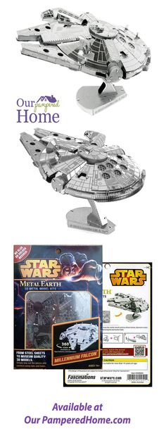 These amazingly detailed DIY models start as square steel sheets and finish as amazing models. Metal Earth, Millenium Falcon, Pop Out, Build Your Own, Fascinator, Connect, 3 D, Star Wars, Models