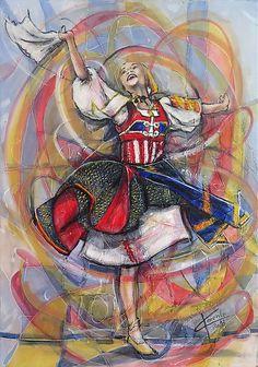 Dance by artpucik on Etsy Polish Folk Art, Color Pencil Art, Colored Pencils, Spiderman, Princess Zelda, Superhero, Gallery, Dancing, Design History