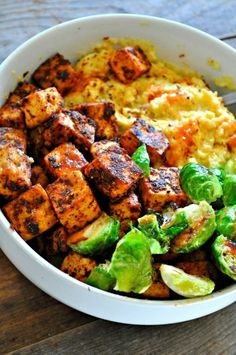 Tofu was really yummy. Leave out cayenne for kiddos. Didn't try the grits. Vegan Blackened Tofu with Cheesy Grits - Rabbit and Wolves Whole Food Recipes, Cooking Recipes, Beef Recipes, Firm Tofu Recipes, Cooking Tips, Cooking Corn, Raw Recipes, Cooking Turkey, Organic Recipes