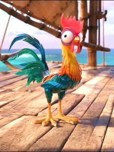 Here is a shot of Heihei from Disney's Moana. Heihei is Moana's pet rooster and he is by far the dumbest character in this movie. Disney Kunst, Arte Disney, Disney Art, Disney Movies, Disney Pixar, Disney Wiki, Moana Disney, Disney Animation, Disney Wallpaper
