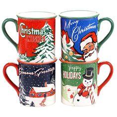 Certified International Retro Christmas 4-pc. Mug Set, Multicolor