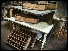 Vintage 7-up crates, marble top iron base end table, galvanized table