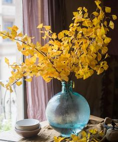 "Artificial Ginkgo Leaf Stem in Yellow 37"" Tall – RusticReach Artificial Hydrangeas, Artificial Plants, Olive And Vine, Yellow Plants, Willow Branches, Vine Leaves, Eucalyptus Leaves, Small Leaf, Yellow Leaves"