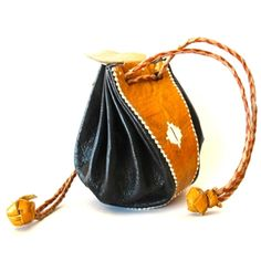 This funky African Tuareg leather pouch made in Morocco.