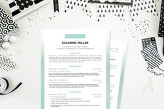 Ombre Simple 2 Pg. Resume (Teal) by JannaLynnCreative on @creativemarket