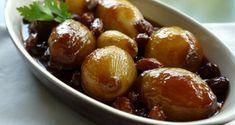 γλυκόξινα καραμελωμένα κρεμμύδια, ολόκληρα - Pandespani.com Greek Recipes, Vegetarian, Fruit, Food, Christmas, Xmas, Essen, Greek Food Recipes, Navidad