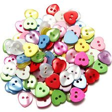 100pcs Heart Mixed Colors Resin Buttons Fit Sewing or Scrapbooking 12mm Craft