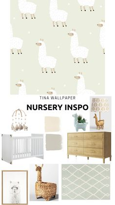 Llama inspired nursery featuring the Tina Removable Wallpaper.   #removablewallpaper #llamanursery