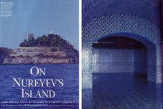 (IN)DECOROUS TASTE: A Person + A Place: Rudolf Nureyev - private island on the archipelago of Li Galli, off the Amalfi coast, in Italy. House  Garden, 1992