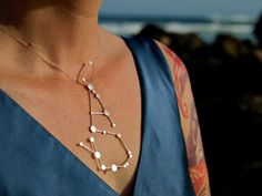 love this!  ___  Scorpio Zodiac Constellation Sterling Silver Necklace on Rubber Cord. $140.00, via Etsy.