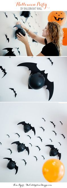How to Make A Wall of Balloon Bats for your Halloween Party