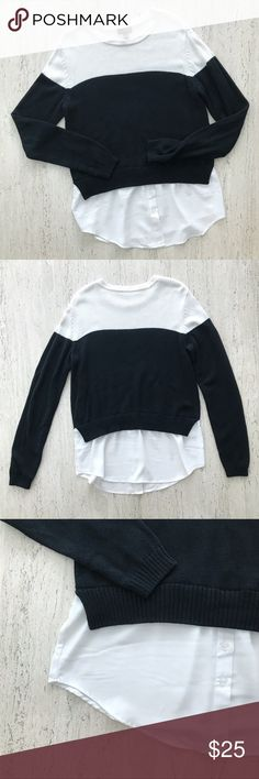The Limited Layered Pullover Sweater Shirt Combo Basic. Chic. Cool. Cozy and stylish. Black and White Colorblock Layered Pullover/ Sweater Shirt Combo.  ▫️Pre-owned. Excellent condition. No holes or stains. ▫️Size S ▫️Approx. Length 27in, Shoulder 16.5in, Sleeve length 25.5in, Chest 36in The Limited Sweaters