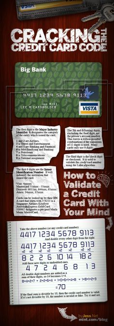 The numbers on your credit card add up to tell whether the card is valid or not. You can determine this by just using your brain power.