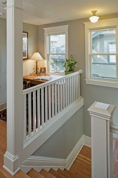Queen Anne Four-Square - traditional - staircase - seattle - CTA Design Builders, Inc. Style At Home, Juan Les Pins, Traditional Staircase, Staircase Makeover, House Stairs, Oak Stairs, Hallway Decorating, Staircase Design, Grey Walls
