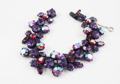Vintage Rhinestone Bracelet Regency Jewelry Purple Pink Bracelet