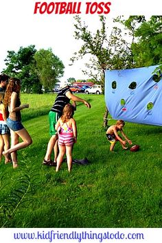 A Football Toss Game made from an old twin bed sheet! This is great for summer picnics, and birthday parties!