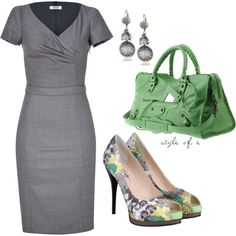"""Green at Work"" by styleofe on Polyvore"