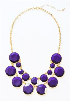 Bauble Box Bib - double row necklace with faceted purple gem beads $13.90