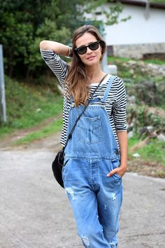 Stripes + overalls = always a good thing.