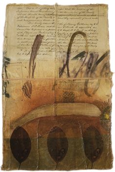 collage painting | Lands End III by Fran a Skiles - Rigid, yet flexible layered constructions of paper, cloth, paint, gesso, paint, ink and pencil held together with stitching, embroidery, and medium.