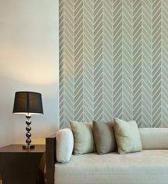 Get Ziggy With It Wall Stencil. Fun Herringbone pattern great for stenciling a two-tone effect!   Royal Design Studio