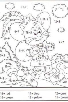 Math Addition Worksheets, Math Coloring Worksheets, 1st Grade Math Worksheets, Number Worksheets, First Grade Math, Grade 1, Printable Coloring, Subtraction Worksheets, Alphabet Worksheets