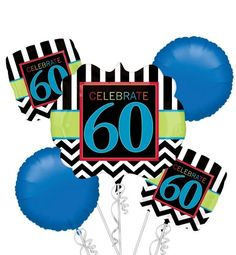 Celebrate 60th Birthday Balloon Bouquet 5pc - Party City