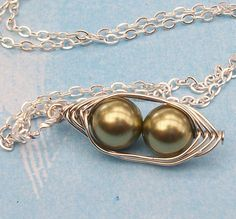 Two Peas In A Pod Silver Pendant Necklace For by Kikiburrabeads, $18.50