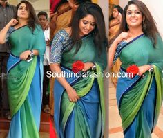 Peacock blue chiffon saree with designer blouse