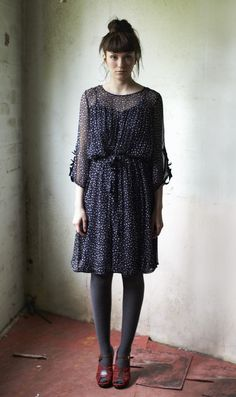 Midnight blue silk chiffon dress printed all over with tiny ivory stars