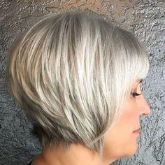 65 Gorgeous Gray Hair Styles Short Gray Hair With White Blonde Balayage Short White Hair, Long Gray Hair, Very Short Hair, Short Hair Cuts, Short Hair Styles, Natural Hair Styles, Short Hair Back, Pastel Blue Hair, Lilac Hair