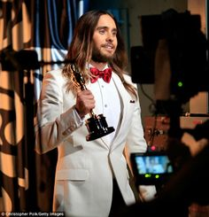 Backstage with Jordan Catalano: The 30 Seconds to Mars frontman looked grateful and dapper in his white tuxedo jacket and red bow tie by his...