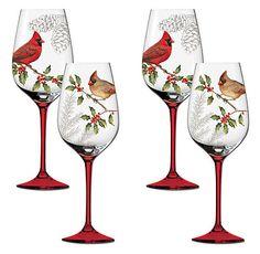 Peaceful Christmas Wine Glasses.