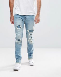 Hoxton Denim Slim Fit Jeans with Heavy Rips - Blue