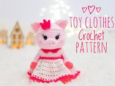 TOY CLOTHES SET pattern: Crochet Dress and Crown  - Crochet clothing for toys - Crochet clothes pattern for dolls - Toy outfit pattern