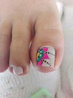 Pedicure Nail Art, Toe Nail Art, Nail Manicure, Toe Nail Designs, Nail Polish Designs, Cute Toe Nails, Magic Nails, Summer Nails, Summer Pedicures