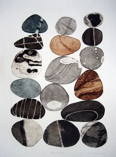 Tessa Horrocks - London Printmaking Artist, Pebbles are Great (colour series collagraph Art And Illustration, Illustrations, Painting & Drawing, Watercolor Paintings, Abstract Watercolor Art, Encaustic Painting, Watercolor Artists, Painting Lessons, Abstract Oil