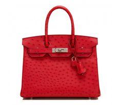b63e8d717bc Hermes Rouge Vif Ostrich Birkin 30cm Palladium Hardware Louis Vuitton  Handbags