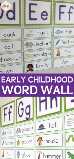 These word wall cards are perfect for preschool, pre-k, and kindergarten word walls. Clear, easy to ready letter toppers and clear word cards with simple illustrations. Use for letter of the week activities, in your writing center or for other literacy activities. Create matching name cards and sight word. Teach letters, beginning sounds, phonics and early literacy in early childhood education. Alphabet activities, ABC activities, letter activities