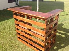 my dad made me this bar out of pallets..it's a beauty..he is making me the matching pallet bar stools now..