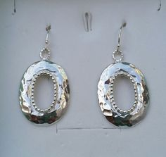 Silver Hammered Earrings Sterling Silver 925 Dangle by TalyaDesign