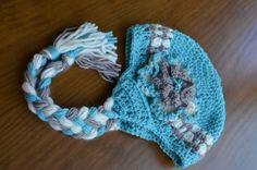 Girl's Aqua White Taupe Earflap Hat  All by HotOffTheHookCrochet, $29.00