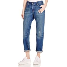 Levi's 501 Ct Boyfriend Jeans in Medium Blue (5.375 RUB) ❤ liked on Polyvore featuring jeans, medium blue, ripped jeans, levi jeans, distressed jeans, boyfriend jeans and destructed jeans