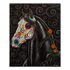 Inspired by the Mexican holiday, Day of the Dead. Beautiful black horse wear a sugar skull style mask. From my original painting on canvas.
